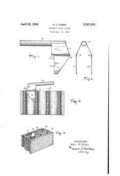 Patent US2347310 - Concrete block lifter - Google Patents Concrete Blocks, Patent Pending, Inventions, Interview, Floor Plans, Google, Ideas, Thoughts, Floor Plan Drawing
