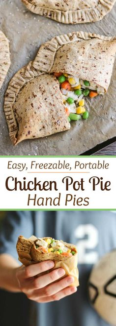"""Freezable make-ahead! Perfect grab-and-go meal for busy nights! Our Easy Chicken Pot Pie Hand Pies have all the comforting, homestyle goodness of traditional chicken pot pies, but are more nutritious and totally portable. Filled with yummy (kid-friendly) veggies and chunks of tender white-meat chicken, plus a creamy (but not too messy!) sauce. All wrapped in a healthier, thyme-seasoned pot pie crust. Stock your freezer with healthy homemade """"Hot Pockets""""! {ad}   www.TwoHealthyKitchens.com"""