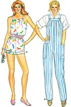 1980s Jumpsuit Overall Style Two Lengths Cut Complete by kinseysue