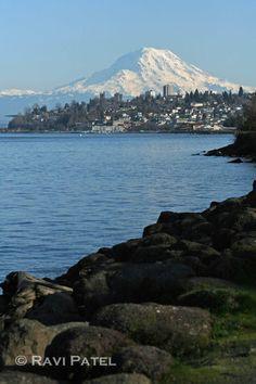 Mt. Rainier Tacoma. Mt. Rainier has got to be twice as big as Mt. hood. I don't even notice Mt. Hood!