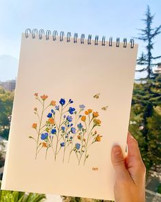 Watercolor Flowers, Watercolour, Watercolor Paintings, Painted Flowers, Wildflowers, Chile, Scenery, Bee, Doodles