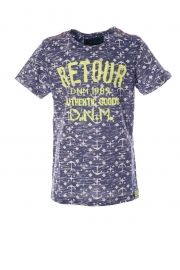 Retour  Jeans T-shirt, alloverprint, gele tekst Retour   Te koop bij www.koflo.nl