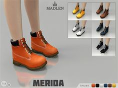 Madlen Merida Boots - The Sims 4 Catalog Sims Four, Sims 4 Mm Cc, Sims 4 Cas, My Sims, Sims 4 Blog, Best Sims, Sims4 Clothes, Sims 4 Cc Shoes, Sims 4 Toddler