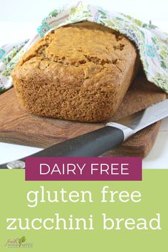 This Dairy Free Gluten Free Zucchini Bread is the perfect brunch addition or breakfast recipe. It's tender, yet holds up well when sliced! It's a great way to use up garden fresh zucchini! #gardenfresh #glutenfreebaking #dairyfreebaking #glutenfreedairyfree #glutenfreerecipes Gluten Free Zucchini Bread, Zucchini Bread Recipes, Cooking Rolled Oats, What Recipe, Food Test, Dairy Free Baking, Food Science, Gluten Free Recipes, Brunch