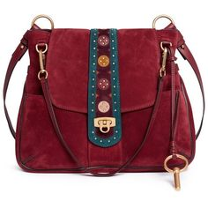 Chloé 'Lexa' ethnic embellished leather and suede shoulder bag (£1,810) ❤ liked on Polyvore featuring bags, handbags, shoulder bags, red, red purse, chloe shoulder bag, slouchy shoulder bag, chloe purse and chloe handbags