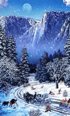 Christmas Scenery, Winter Scenery, Outdoor Christmas, Christmas Pictures, Christmas Art, Christmas Greetings, Beautiful Christmas, Winter Christmas, Xmas Gif