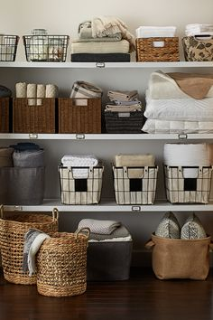 Closet storage solutions, closet organization tips, mudroom storage ideas, organizing Linen Closet Organization, Home Organisation, Organization Ideas, Organizing Bathroom Closet, Kitchen Organization, Clothing Organization, Dorm Room Storage, Diy Storage, Baskets For Storage