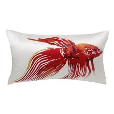 I need this. Red Orange Lumbar Pillow with Chartreuse Arm Chair -   Betta Fish Silk Pillow Cover | west elm
