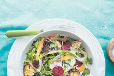 Early spring garden salad recipe, Bite – ampnbspServe this spring salad with pork chops or roast chicken pieces or break some smoked eel into chunks and add to the salad before dressing - Eat Well (formerly Bite) Salad Places, Walnut Oil, Spring Salad, Baby Carrots, Roast Chicken, Vegetable Sides, Spring Recipes, Salad Bowls, Early Spring