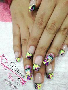 La Nails, Bling Nails, Nail Art Designs Videos, Nail Designs, Holiday Nail Art, Bright Nails, Girls Nails, Nail Accessories, French Nails