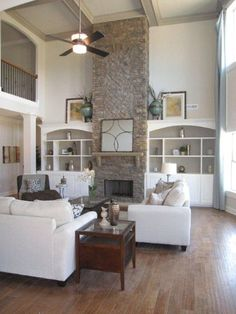 great room layout with loft, one built in for tv area