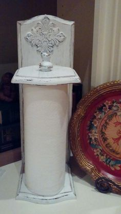 Shabby Chic Paper Towel Holder...Vintage...white by TheChicTrunk, $32.50