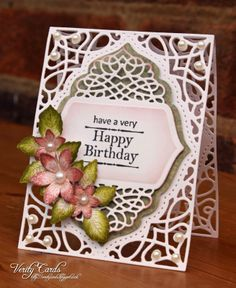 Card made by Liz Walker using Spellbinders Tranquil Moment die and. Heartfelt Creations Sun Kissed Fleur flowers, sentiment and open leaf stamp.