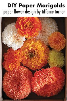 Paper marigolds are not hard to make as paper flowers go. The marigold is iconic with its ruffled dense orange and yellow heads so even when made with just a tuft of orange tissue paper atop a crude green stem a paper marigold is unmistakable. Diy Paper, Paper Crafts, Diy Crafts, Craft Activities For Kids, Crafts For Kids, Craft Ideas, Sweet Paul, Flower Artists, Orange Paper