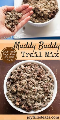 Muddy Buddy Trail Mix makes the chocolately peanut buttery goodness of the famous Chex Muddy Buddies low carb, grain free, sugar free, & THM S. via (Keto Dessert Recipes) Trail Mix Recipes, Low Carb Recipes, Snack Recipes, Dessert Recipes, Dessert Ideas, Paleo Trail Mix, Trim Healthy Recipes, Delicious Recipes, Low Carb Sweets