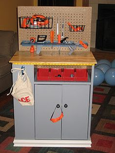 i finally took all of the great ideas i found on pinterest & made my own play workbench!--ok, it's not for me, but i kind of wish it was :)
