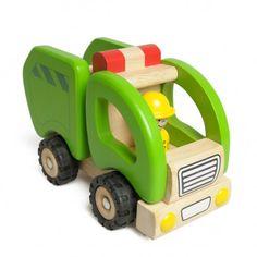 Auto, vuilniswagen, groen, rubberhout