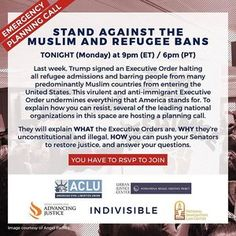 EMERGENCY CALL TONIGHT at 9PM EST with Indivisible, @aclu_nationwide, AAJC, NILC-IJF, and IRAP to discuss what the #MuslimBan Executive Order means, why it's unconstitutional, and what we can do to work together to pressure U.S. Senators to restore justice. RSVP using the link in our profile. #nojusticenobills #withholdconsent #indivisible #standindivisible #neveragainisnow #nobannowall #refugeeswelcome #letthemin.