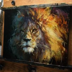 By Lindsey Kustusch Wildlife Paintings, Wildlife Art, Animal Paintings, Tiger Painting, Lion Art, Texture Painting, Cat Art, Art Pictures, Art Drawings