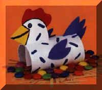 This can be modified to make a rooster...as our church theme for Easter this year is Peter's betrayal of Jesus and the rooster crowing 3 times..