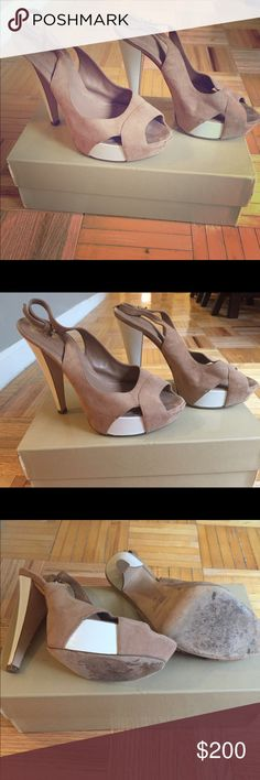 Sergio Rossi slingback sandals Tan suede peep toe slingback sandals with white accents. Worn only a few times. Comes with box and dust bags- one for each shoe. Sergio Rossi Shoes Heels