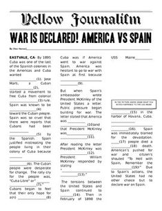 Students will work in partners to complete the Yellow Journalism story of the USS Maine explosion. This is quick & fun Mad Lib style activity is meant to show how inaccurate Yellow Journalism was at the time. My students loved this. I left it in an editable format.Key Words: Spanish American War; Yellow Journalism; USS Maine; American Imperialism