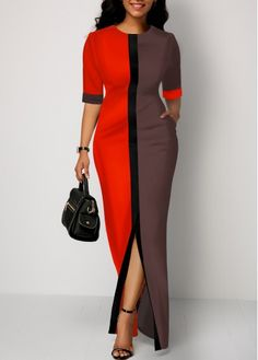Party Dresses For Women Half Sleeve Slit Front Color Block Dress - Casual Dresses - Ideas of Casual Dresses African Wear Dresses, Latest African Fashion Dresses, African Print Fashion, Women's Fashion Dresses, Elegant Dresses, Sexy Dresses, Party Dresses, Ladies Casual Dresses, Dress Casual