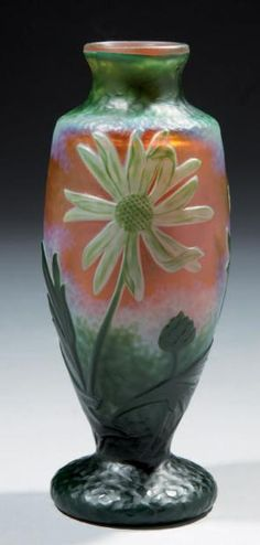 Daum Frères, Nancy, Wheel Carved and Etched Glass Vase.