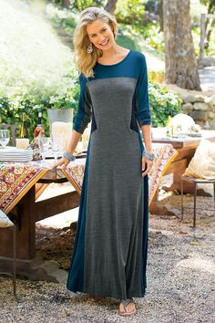 Sensational Shape Dress - Long Sleeve Color-blocked Maxi Dress, Color-blocked Long Dress | Soft Surroundings