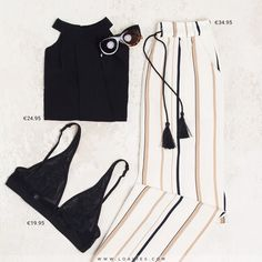 You can never go wrong with an all black outfit, but if you want to add some colour then our Comfy Striped Trousers are perfect. Add a pair of shades and wedges for ultimate summer vibes! #loavies #newin #newcollection #sunglasses #summer #essentials #outfit #ootd