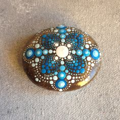 Intricate Blue Mandala Painted Stone Pebble by CreateAndCherish