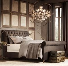 Chesterfield Upholstered Sleigh Bed from Restoration Hardware with amazing chandelier Home Bedroom, Bedroom Furniture, Master Bedroom, Bedroom Decor, Dream Bedroom, Wicker Furniture, Master Suite, Taupe Bedroom, Bedroom Ideas