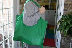Make your own reusable shopping bags that can roll up and fit in your purse/ car