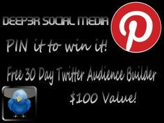 Due to the popularity of this service, I am now offering this for 30 days!! Repin  and comment to WIN! The winner will be chosen at 8PM CST! #twitter #socialmedia