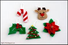 Felt Christmas Ornaments Templates | Felt Candy Cane, Reindeer, Holly Berry, Christmas Tree and Poinsettia ...