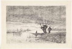 Elias Stark   Rivierlandschap met een man in een boot, Elias Stark, 1886   Op een rivier een man in een boot bij twee kale knotwilgen. Links aan de horizon een molen.