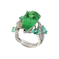 Ring in white gold and diamonds with green tourmaline and paraiba tourmaline by Mathon Paris
