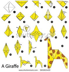 Step By Step Instructions How Make Stock Vector (Royalty Free) 565063420 Step by step instructions how to make origami A Giraffe. Cute Origami, Origami Star Box, Origami Fish, How To Make Origami, Origami Stars, Diy Origami, Origami Folding, Origami Design, Origami Instructions