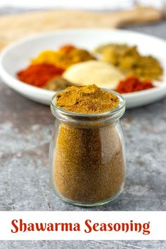 Shawarma seasoning is a flavorful spice blend from the Middle East. Incredible aromatic blend including cumin, allspice, cardamom, turmeric, and ginger. Shawarma Seasoning, Shawarma Spices, Homemade Spices, Homemade Seasonings, Spice Blends, Spice Mixes, Sauces, Easy Vegetarian Dinner, Seasoning Mixes