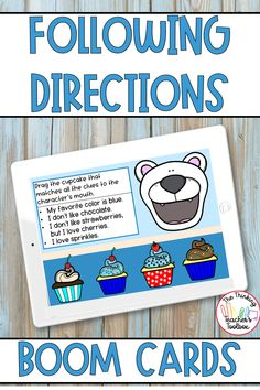These Boom Cards are perfect practice for reading and following directions. Students will sort, categorize, and build cupcakes according to the given directions. Perfect for homework, extra practice, centers, and distance learning! Counseling Activities, Team Building Activities, Learning Activities, Kindergarten Classroom Management, Classroom Resources, Teachers Toolbox, Technology Lessons, Creative Writing Prompts, Following Directions