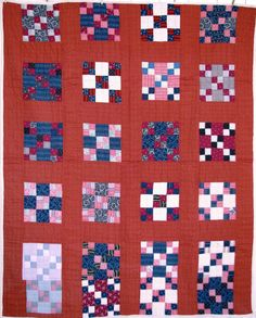 Vintage Quilt  Antique Quilt Red c.1920 hand quilted