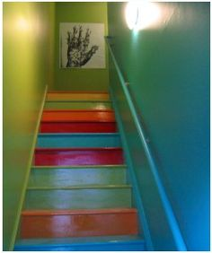 Bright Colored Stairs and Walls . . . looks like the colors I have now!