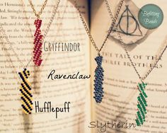 Harry Potter House Pride Necklaces Hand-Beaded Hogwarts House TGie Necklaces by BefittingBeads: