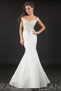 8142 - Mermaid gown with off the shoulder straps and heavily beaded bodice