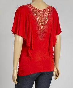 Look what I found on #zulily! Red Cape-Sleeve Drape Top - Plus by Spin #zulilyfinds