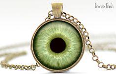 Pale Green Eye Necklace Third Eye Jewelry Evil Eye by FrenchHoney