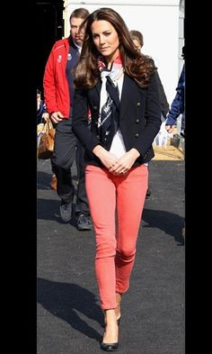 Kate Middletonwore a Pucci blazer, J Brand jeans, L.K.Bennett heels and an official Olympics scarf to visit the Olympics site in Stratford, London.
