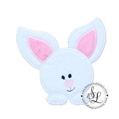 Peeking Easter Bunny applique design - This is an embroidery design and you will need an embroidery machine and a way to transfer the design to your machine. INSTANT DOWNLOAD- you will be emailed a link to download your order automatically as soon as your payment clears. This can