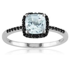 Aquamarine and black engagement ring ❤ This is beautiful, would want a circle stone not square