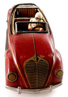 RARE Old Tin Windup Toy Car with Fliptop Roof CKO Made in US Zone Germany